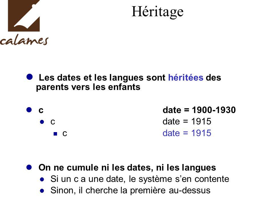 Héritage Les dates et les langues sont héritées des parents vers les enfants. c date = 1900-1930.