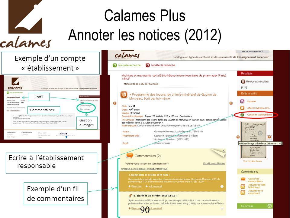 Calames Plus Annoter les notices (2012)