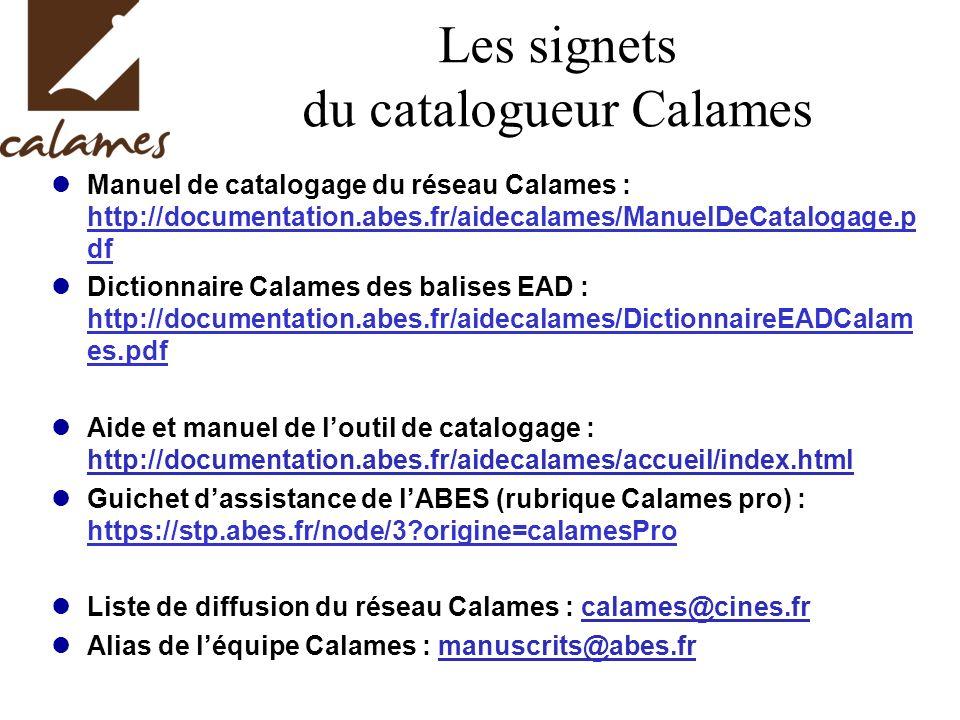 Les signets du catalogueur Calames
