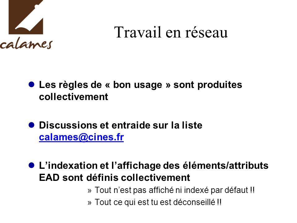 Travail en réseau Les règles de « bon usage » sont produites collectivement. Discussions et entraide sur la liste calames@cines.fr.