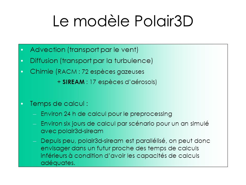 Le modèle Polair3D Advection (transport par le vent)