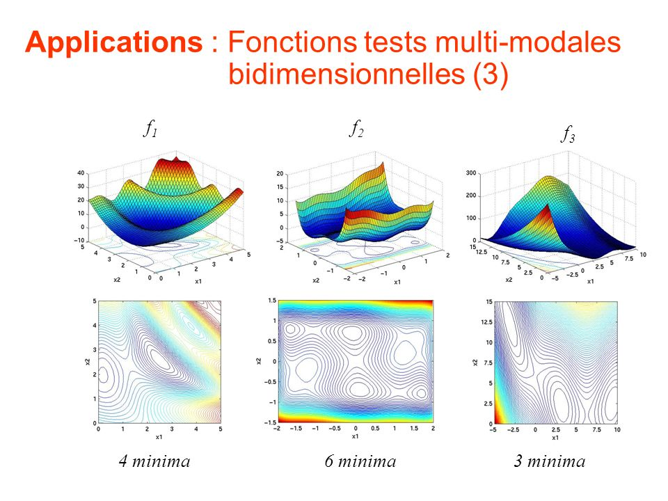 Applications : Fonctions tests multi-modales bidimensionnelles (3)