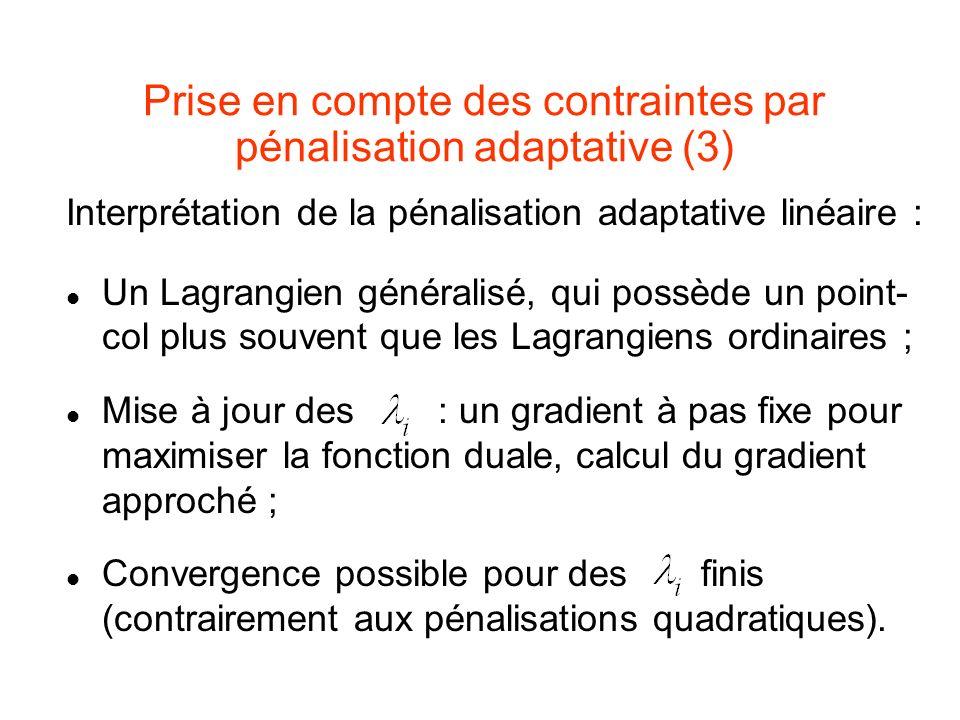 Prise en compte des contraintes par pénalisation adaptative (3)