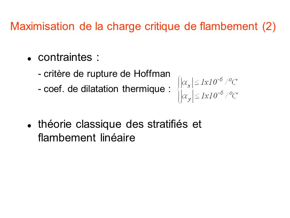 Maximisation de la charge critique de flambement (2)