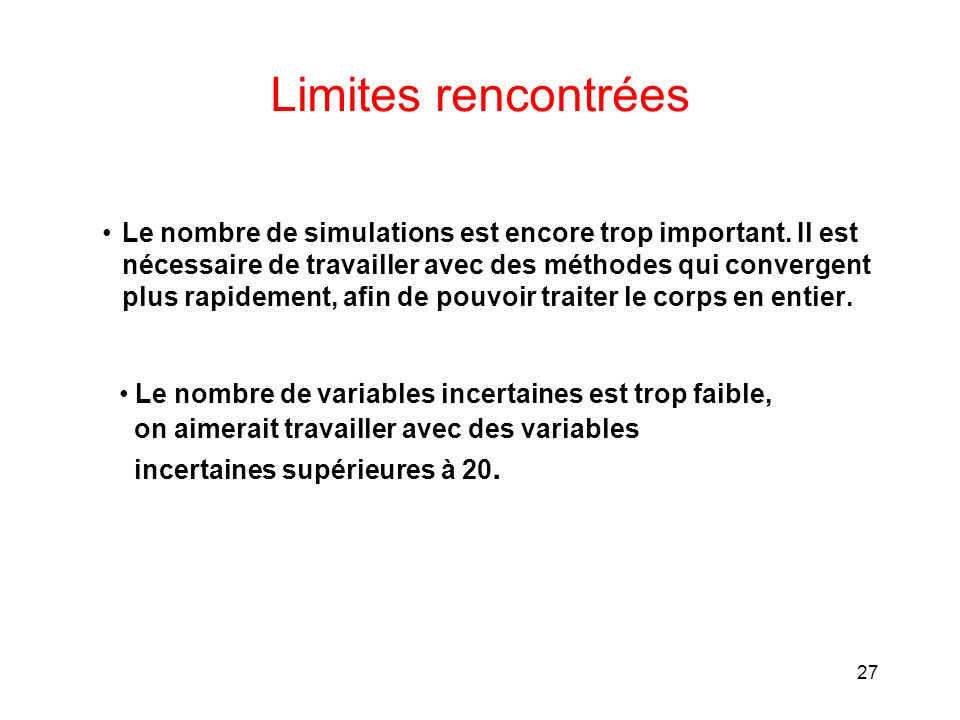 Limites rencontrées