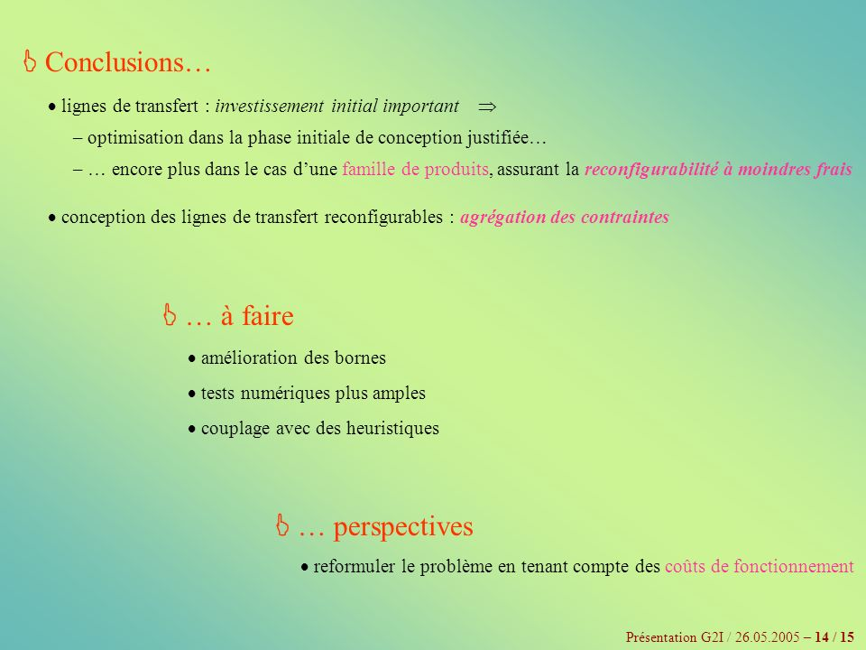  Conclusions…  … à faire  … perspectives