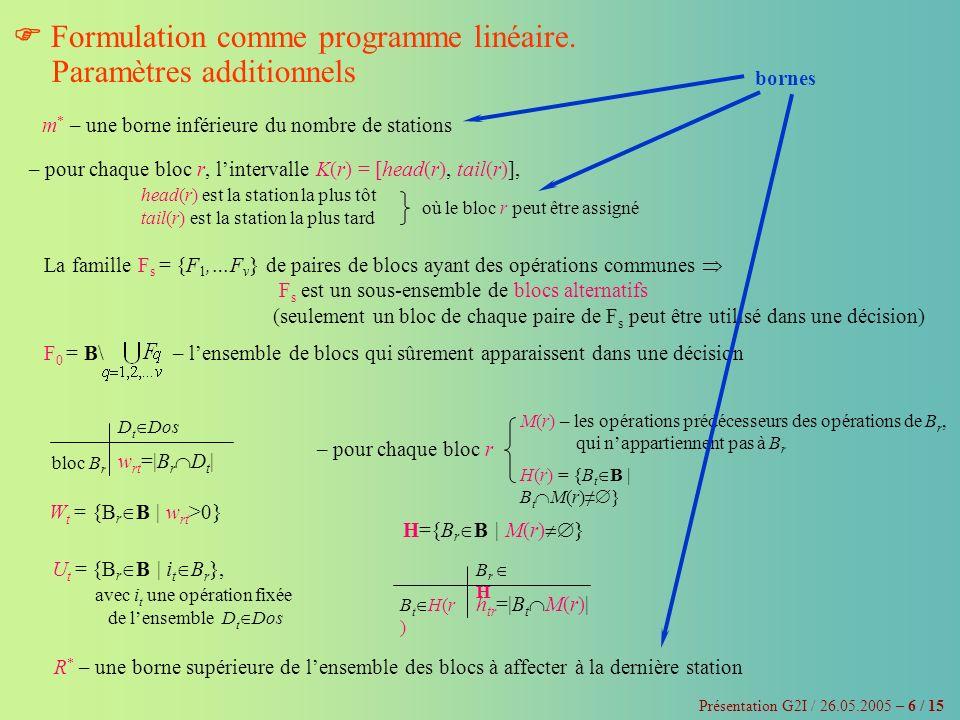  Formulation comme programme linéaire. Paramètres additionnels