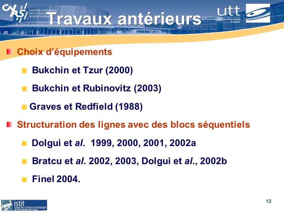 Travaux antérieurs Choix d'équipements Bukchin et Tzur (2000)