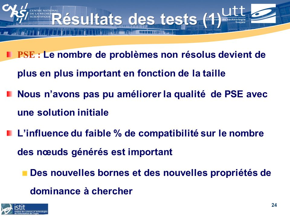 Résultats des tests (1)PSE : Le nombre de problèmes non résolus devient de plus en plus important en fonction de la taille.