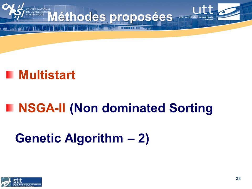 Méthodes proposées Multistart NSGA-II (Non dominated Sorting Genetic Algorithm – 2)