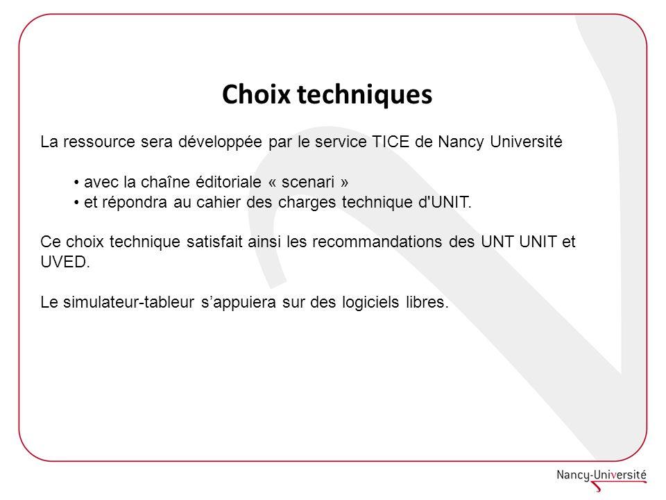 Choix techniques La ressource sera développée par le service TICE de Nancy Université. avec la chaîne éditoriale « scenari »