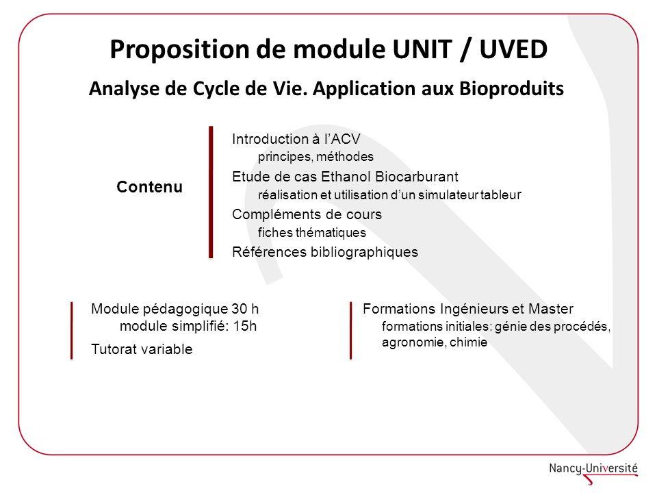 Proposition de module UNIT / UVED