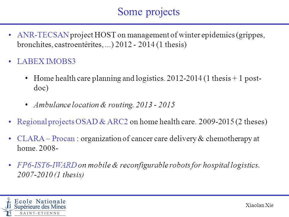 Some projectsANR-TECSAN project HOST on management of winter epidemics (grippes, bronchites, castroentérites, ...) 2012 - 2014 (1 thesis)