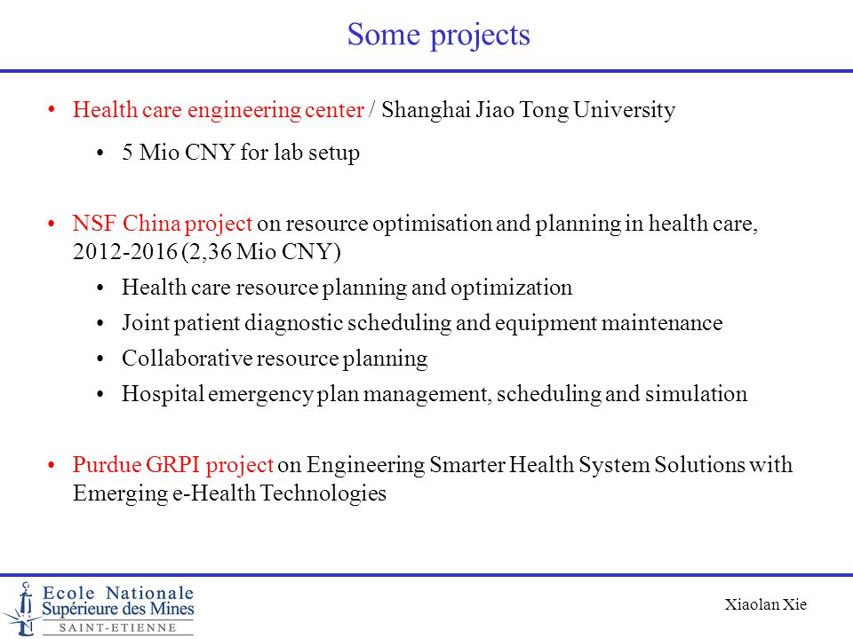 Some projects Health care engineering center / Shanghai Jiao Tong University. 5 Mio CNY for lab setup.