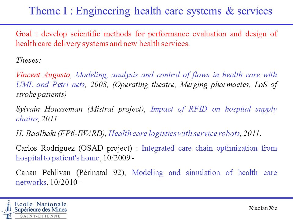 Theme I : Engineering health care systems & services