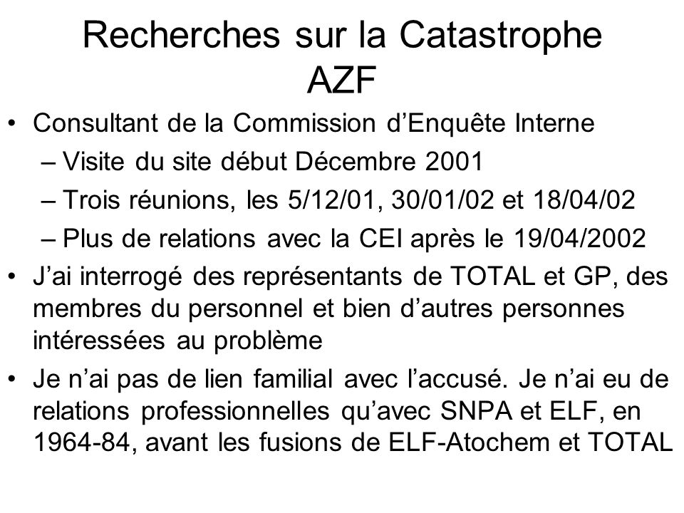 Recherches sur la Catastrophe AZF