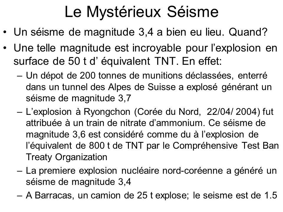 Le Mystérieux Séisme Un séisme de magnitude 3,4 a bien eu lieu. Quand