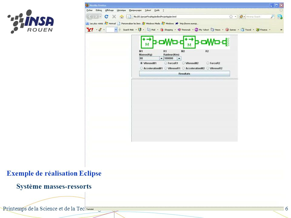 Exemple de réalisation Eclipse Système masses-ressorts