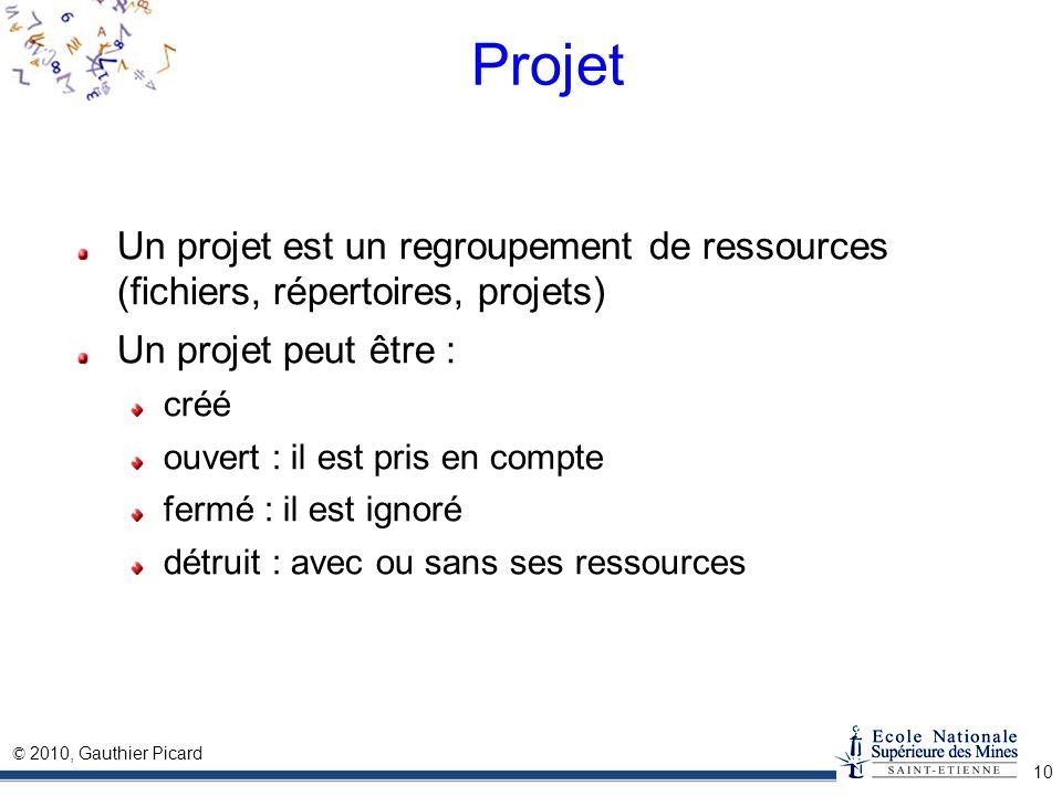 Projet Un projet est un regroupement de ressources (fichiers, répertoires, projets) Un projet peut être :