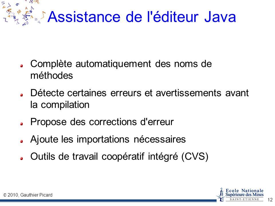 Assistance de l éditeur Java