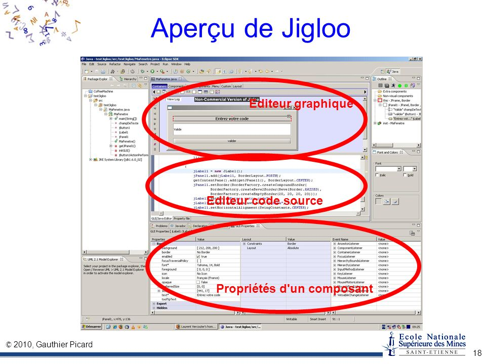 Aperçu de Jigloo Editeur graphique Editeur code source