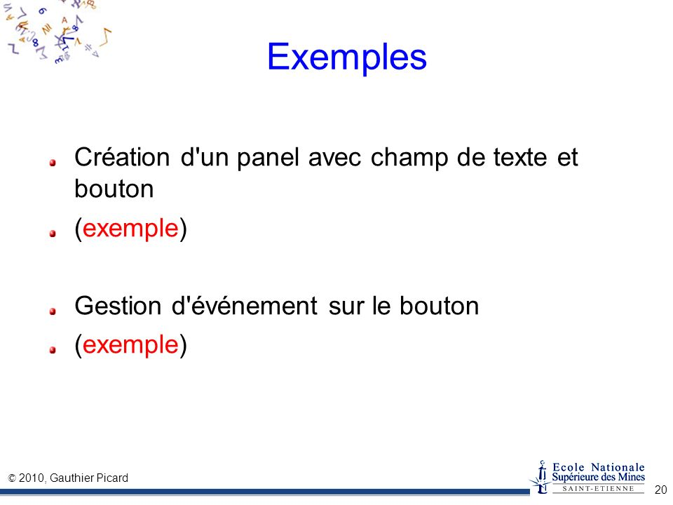 Exemples Création d un panel avec champ de texte et bouton (exemple)
