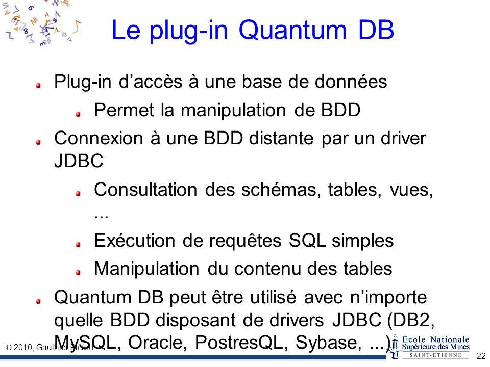 Le plug-in Quantum DB Plug-in d'accès à une base de données
