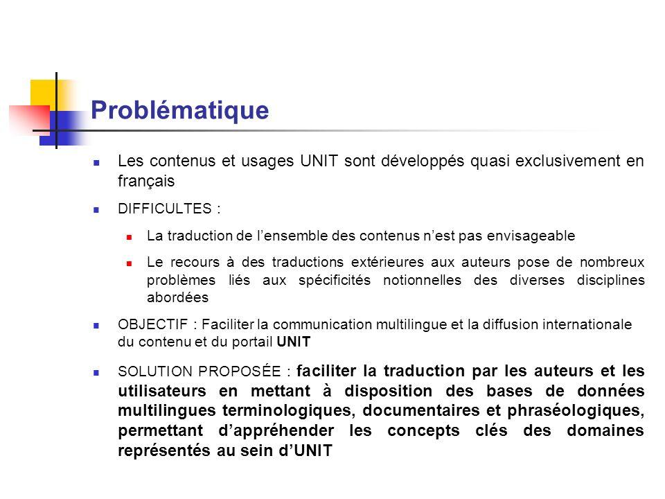 Problématique Les contenus et usages UNIT sont développés quasi exclusivement en français. DIFFICULTES :