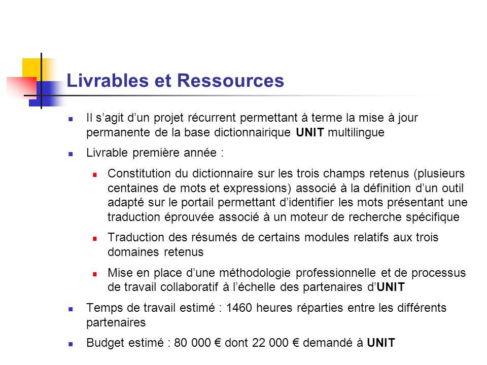 Livrables et Ressources