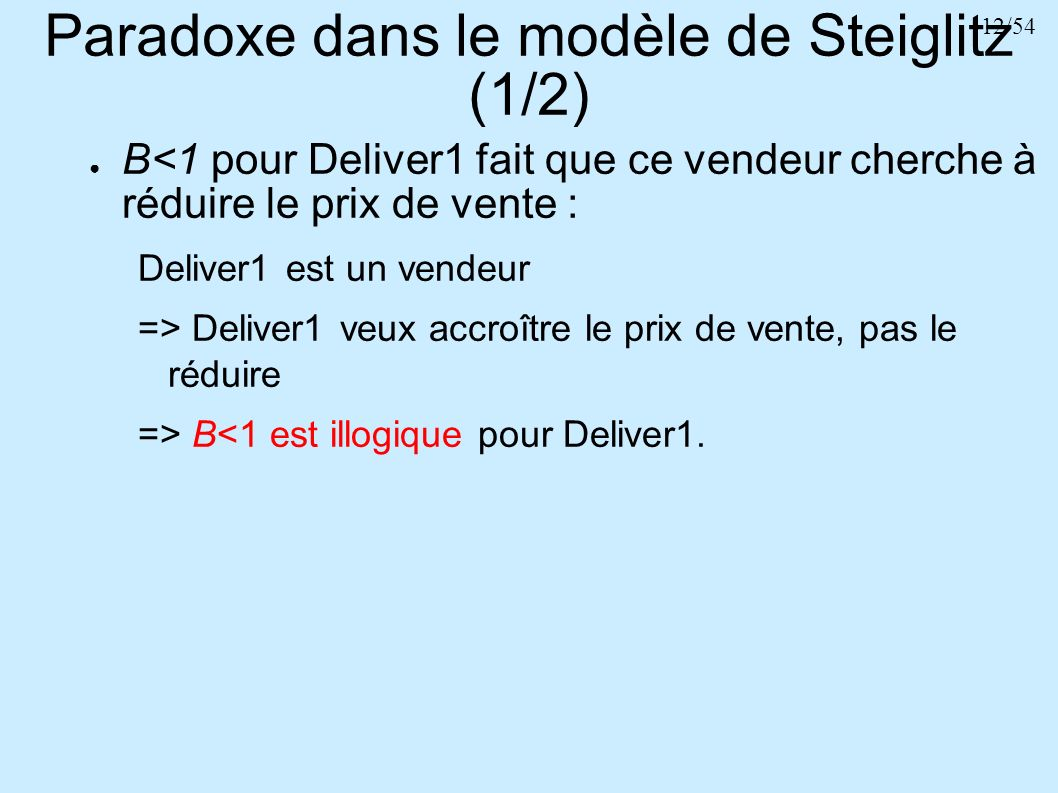 Paradoxe dans le modèle de Steiglitz (1/2)