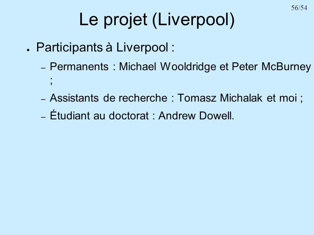 Le projet (Liverpool) Participants à Liverpool :