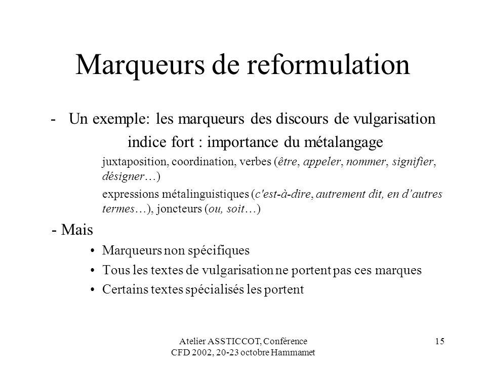 Marqueurs de reformulation