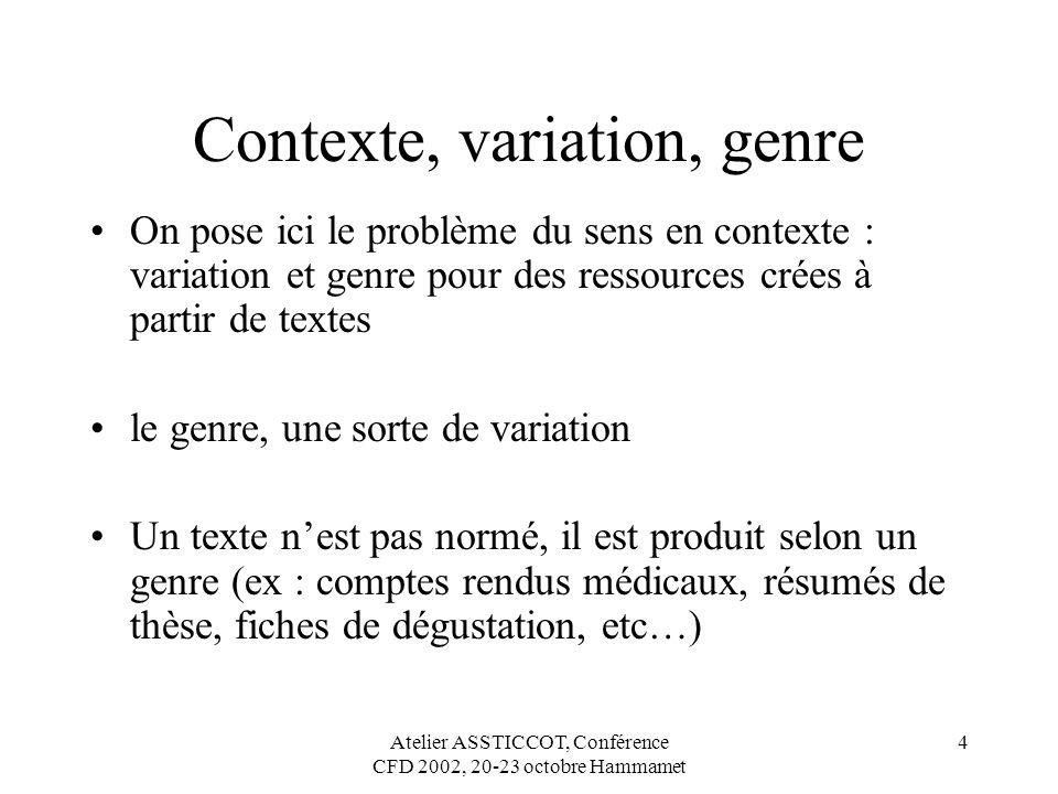Contexte, variation, genre