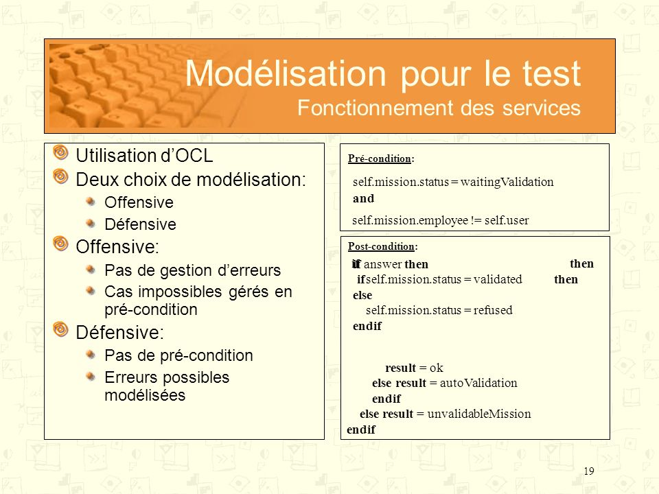 Modélisation pour le test Fonctionnement des services