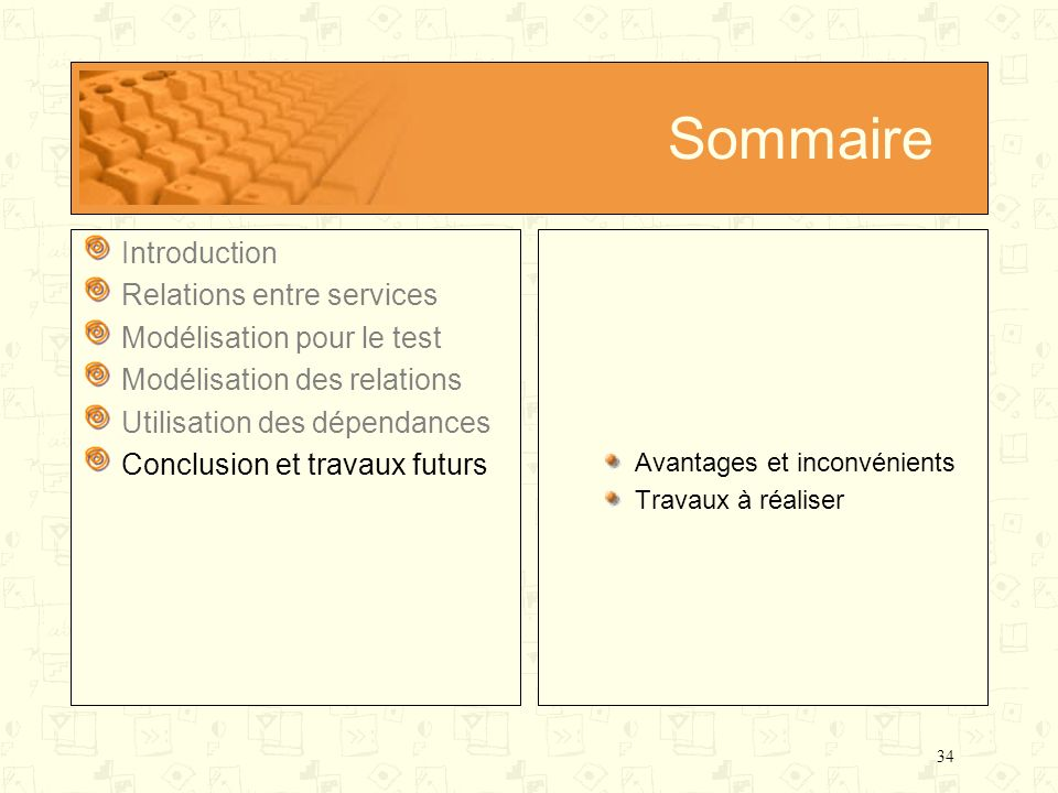Sommaire Introduction Relations entre services