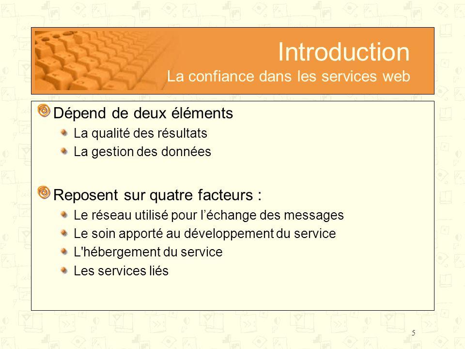 Introduction La confiance dans les services web