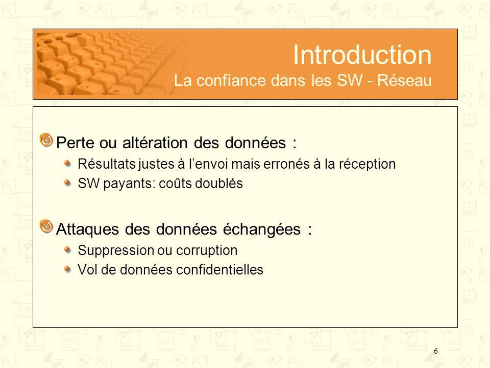 Introduction La confiance dans les SW - Réseau