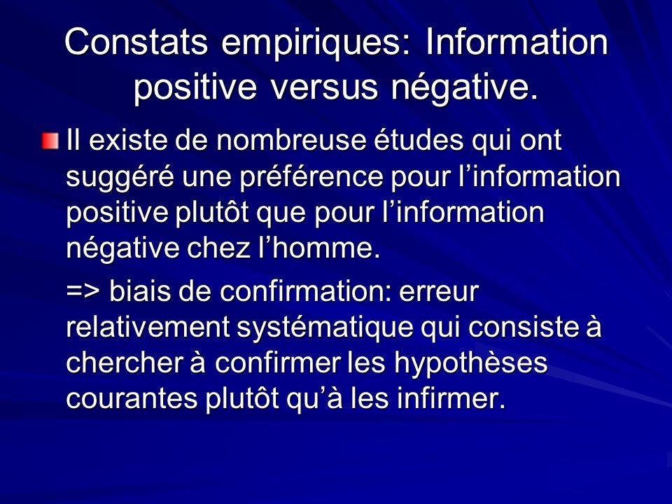 Constats empiriques: Information positive versus négative.