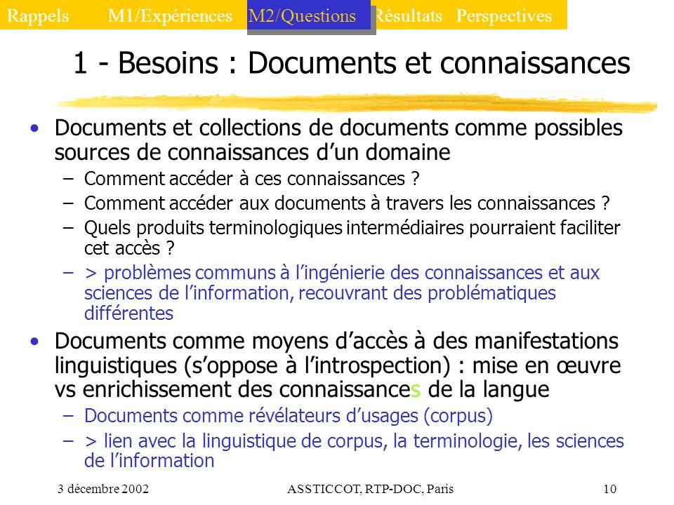 1 - Besoins : Documents et connaissances