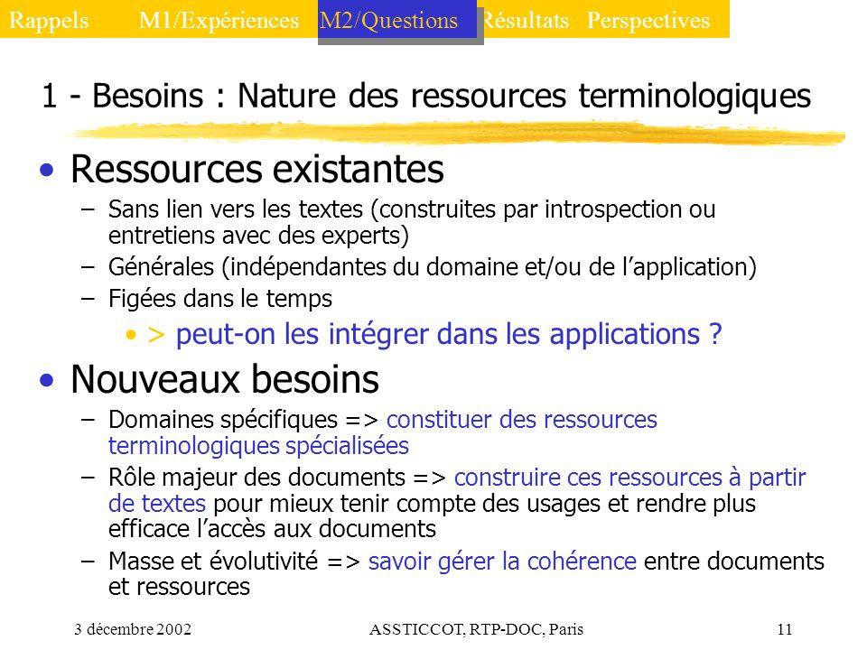 1 - Besoins : Nature des ressources terminologiques