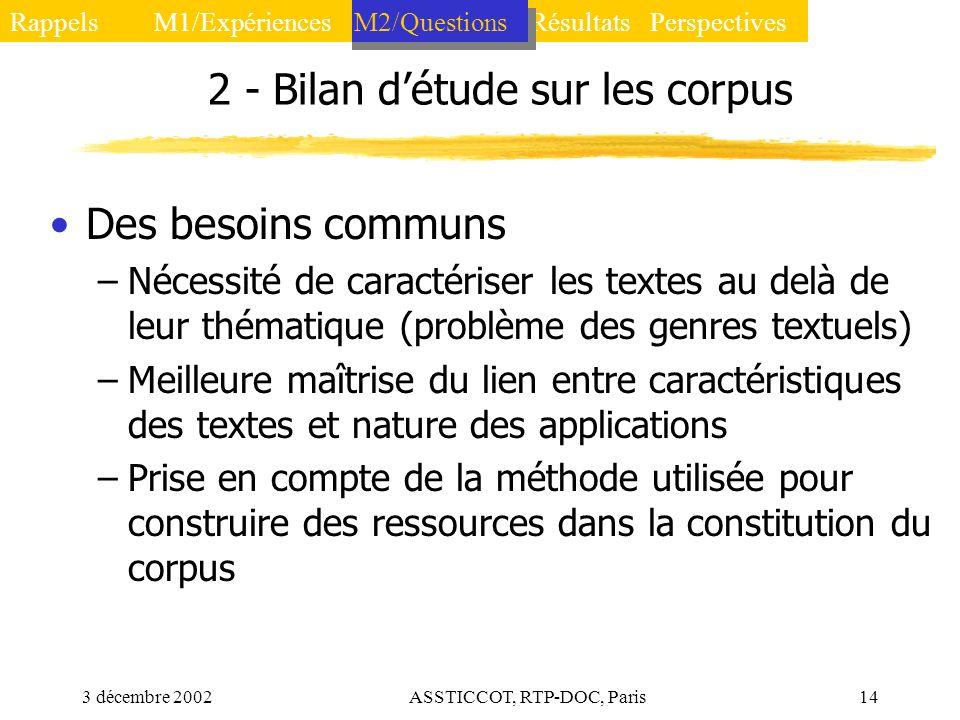 2 - Bilan d'étude sur les corpus