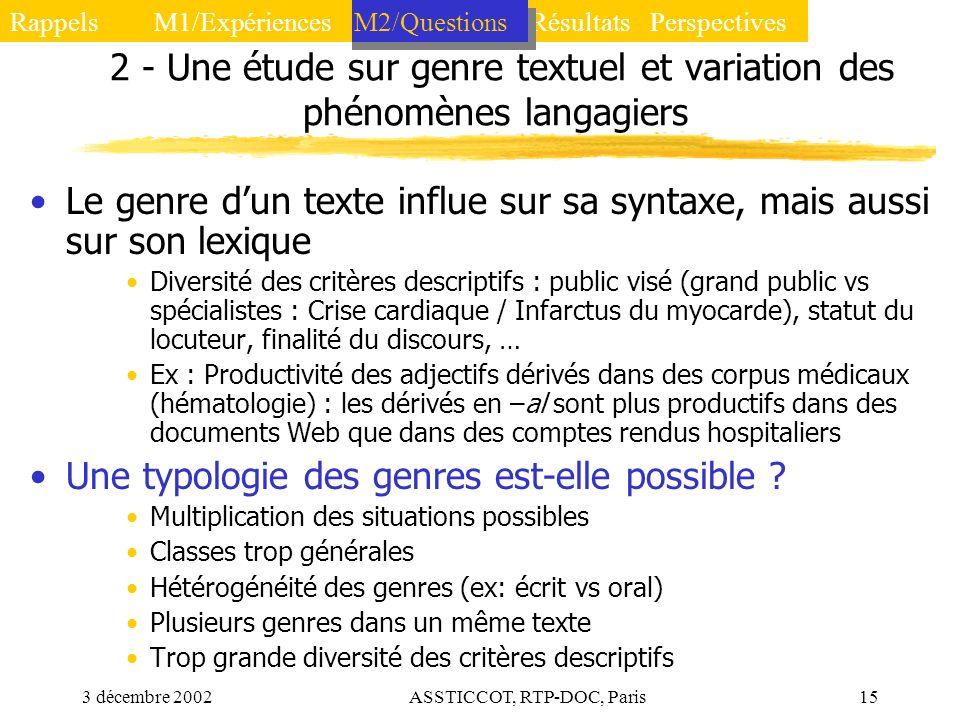 2 - Une étude sur genre textuel et variation des phénomènes langagiers