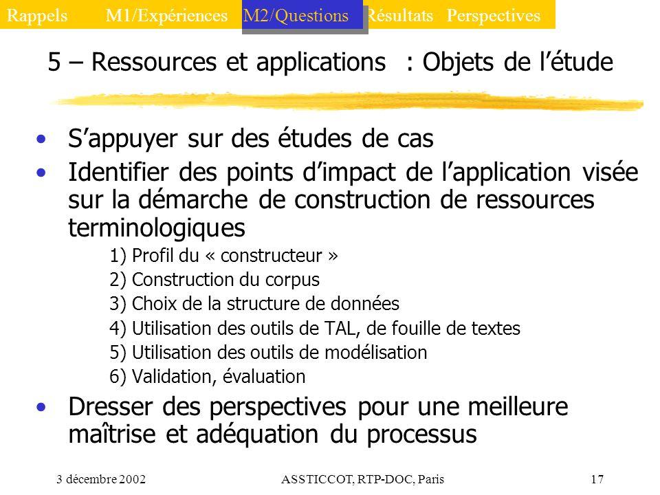 5 – Ressources et applications : Objets de l'étude
