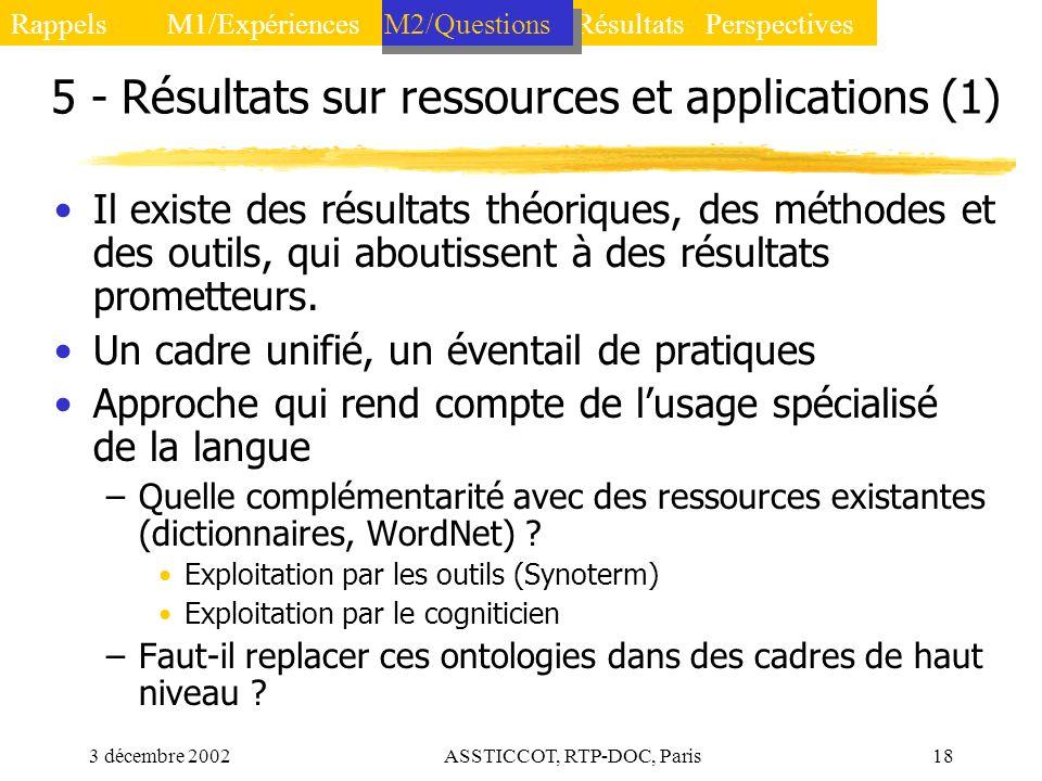 5 - Résultats sur ressources et applications (1)