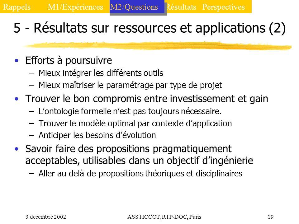 5 - Résultats sur ressources et applications (2)