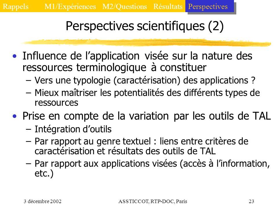Perspectives scientifiques (2)