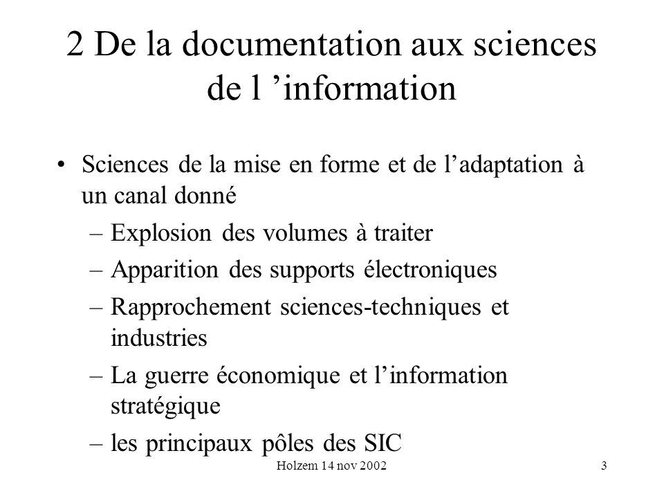 2 De la documentation aux sciences de l 'information