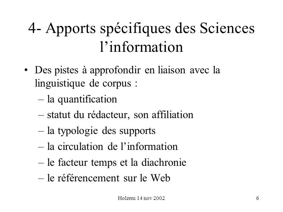 4- Apports spécifiques des Sciences l'information