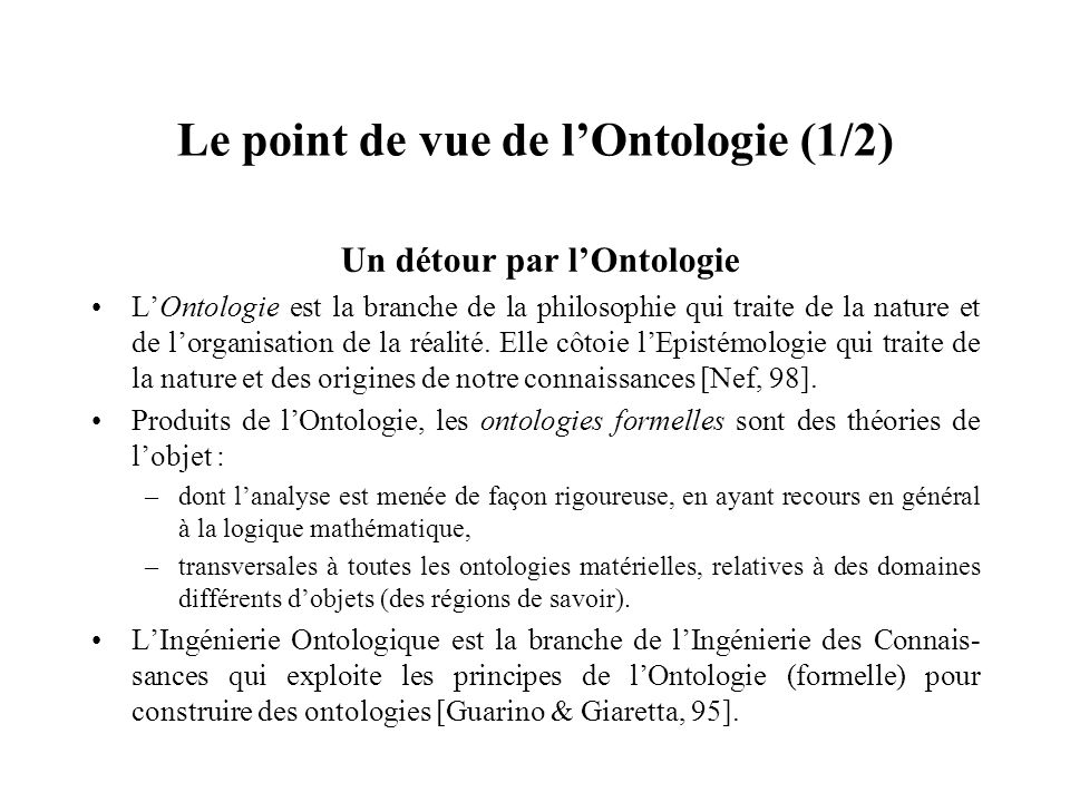 Le point de vue de l'Ontologie (1/2)