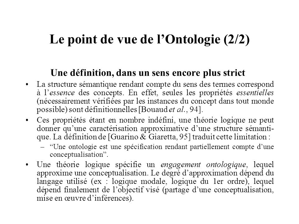 Le point de vue de l'Ontologie (2/2)